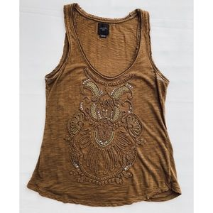 Anthropologie olive green embellished tank top